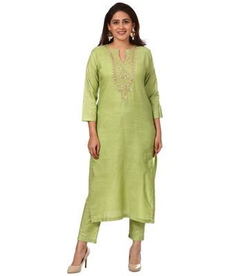 Pista Green Silk Gotta Pearls Embroidered Kurti with Straight Pants