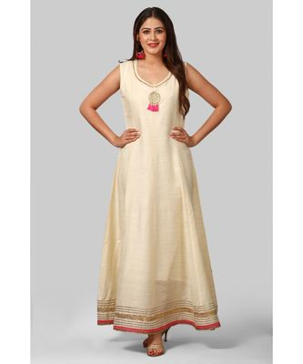 Off-White Silk Gotta Floor Length Kurti