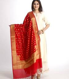 Off-White Straight Kurti with Off-White Gota Gathered Sharara and Red Banarsi Dupatta