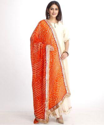 Off-White Straight Kurti with Off-White Gota Gathered Sharara and Orange Bhandhej Dupatta