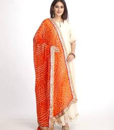 Off-White Straight Kurti with Off-White Gota Gathered Sharara and Orange Bhandhej Dupatta
