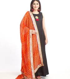 Black Floor Length Silk Kurti with Orange Bhandhej Dupatta