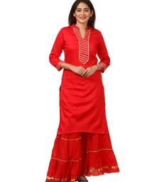 Red Shine Kurti with Gotta Gathered Sharara