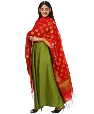 Green Floor Length Kurti With Red Banarsi Dupatta
