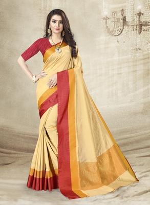Beige Jute Silk Embellished Designer Saree