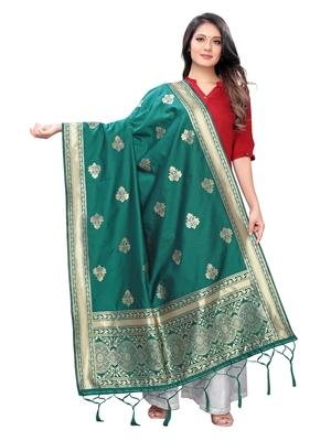 green Poly Silk Banarasi Womens Dupatta