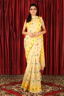 Beige woven blended cotton saree