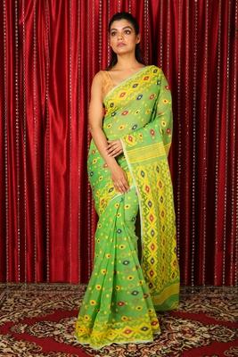 Light green woven blended cotton saree