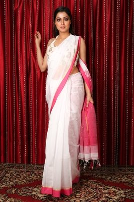 White  woven blended cotton saree with blouse