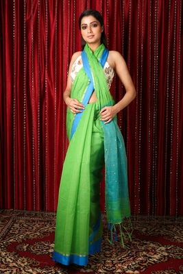 Light green woven blended cotton saree with blouse