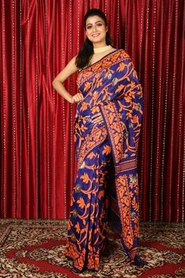 Blue woven blended cotton saree