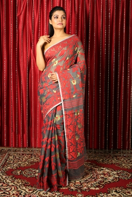Grey  woven blended cotton saree