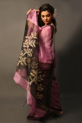 Mauve woven linen saree with blouse