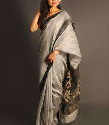 Silver woven linen saree with blouse