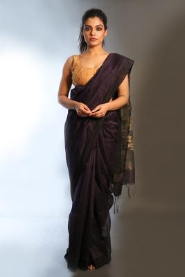 Dark purple woven linen saree with blouse
