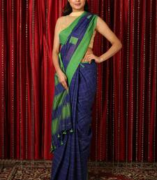 Navy blue  woven blended cotton saree with blouse
