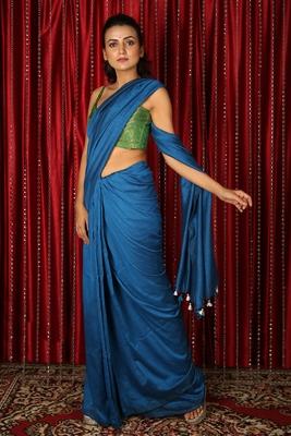Royal blue plain blended cotton saree with blouse
