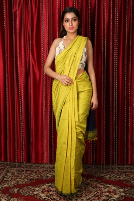 Lime plain blended cotton saree with blouse