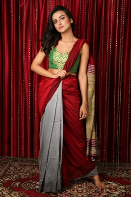 Maroon plain blended cotton saree with blouse