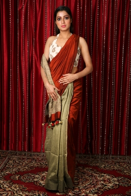 Rust plain blended cotton saree with blouse