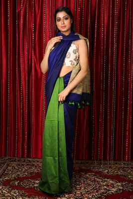 Blue plain blended cotton saree with blouse