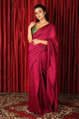 Magenta plain blended cotton saree with blouse