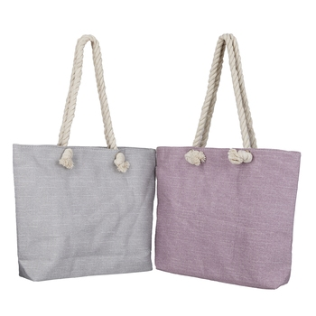 Shree Shyam Product Grey & Pink Large Compartment Printed Cotton Casual Tote Bag for Women & Girls (2Pcs Set)