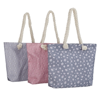 Shree Shyam Product Grey & Pink Large Compartment Printed Cotton Casual Tote Bag for Women & Girls (3Pcs Set)