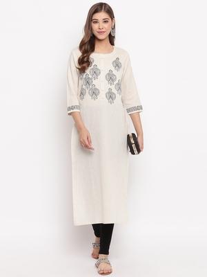 women's printed straight slub cotton beige kurti