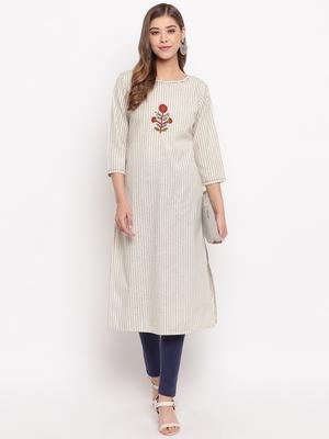 Women'S Striped Print,Hnad Work Straight Cotton Beige Kurti