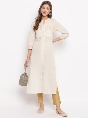 Women'S Foil Print Straight Cotton Off White Kurti