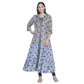 Grey printed cotton silk ethnic-kurtis