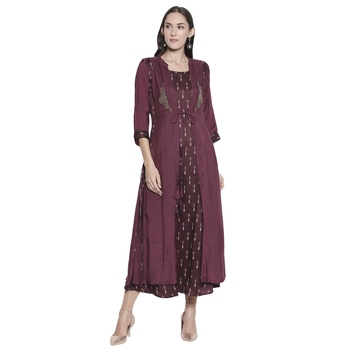 Maroon embroidered cotton silk ethnic-kurtis