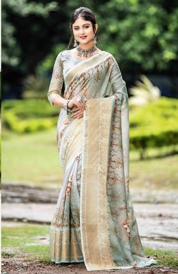 Grey woven cotton saree with blouse