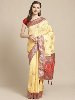 Yellow embroidered tussar silk saree with blouse