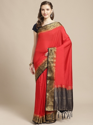 Red embroidered tussar silk saree with blouse