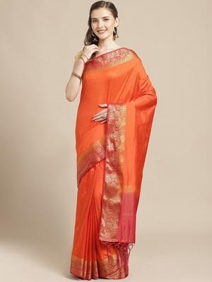 Orange embroidered tussar silk saree with blouse