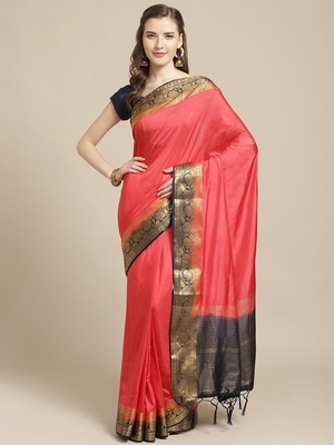 Dark pink embroidered tussar silk saree with blouse