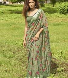 Green floral print linen saree with blouse