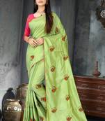 Buy Green embroidered art silk saree with blouse