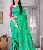 Buy Sea green embroidered silk blend saree with blouse