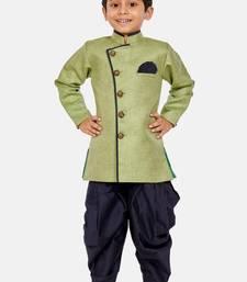 Green plain blended cotton boys-sherwani