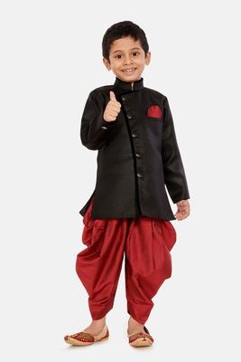 Black plain blended cotton boys-sherwani