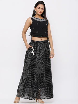 Black Georgette Embellished Crop-Top with Palazzo