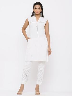 White Rayon Flex Embellished Straight Kurta with Pants