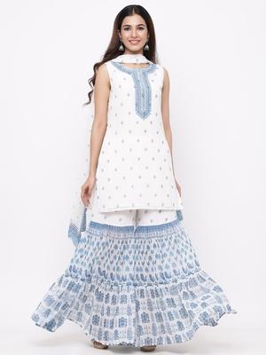 Blue Georgette Printed Straight Kurta Sharara Dupatta Set