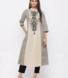 Beige Cambric Embellished A-Line Kurta