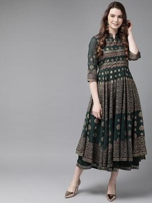Jade Green Georgette Gold Foil Print Layered Ethnic Dress