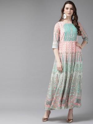 Peach Georgette Printed Kalidar Dress