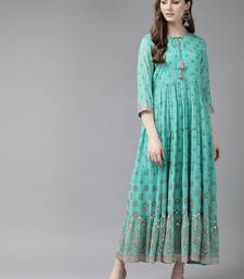 Mint Georgette Printed Tiered Dress